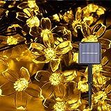 Herefun Luces de Hadas Flor Solar, Cuerdas Solares Luces Jardín 7M 50 LED Luces de Cuerdas Solares para Árbol de Navidad, Patio, Jardín, Terraza y Exteriores e Interiores (Blanco Cálido)
