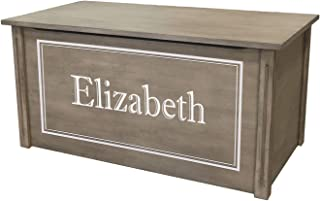 Wood Toy Box, Large Gray Toy Chest, Personalized Shadow Font, Custom Options (Standard Base)