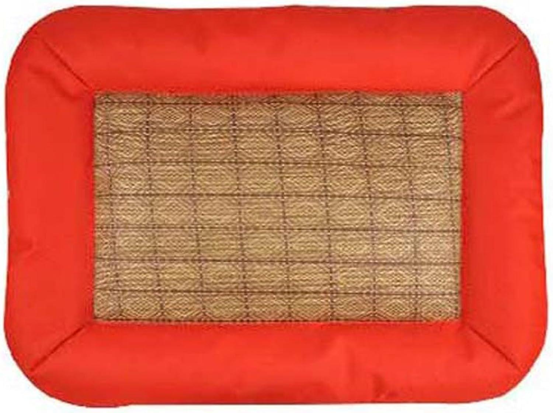 Dog Mat Mat, Pet Summer Puppy Large Dog Cool Pad Dog Bed Kennel Summer Cat Litter Cooling Mat (color   Red, Size   L)