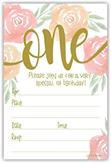Watercolor Floral Girl 1st Birthday Invitations - Fill in Style (20 Count) with Envelopes