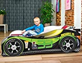 Cama infantil coche de carreras + somier (barandas) + colchón de espuma con...