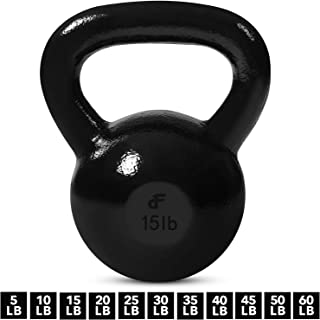 Kettlebell Weights Cast Iron by Day 1 Fitness – 11 Sizes Available, 5-60 Pounds - Ballistic Exercise, Core Strength, Functional Fitness, and Weight Training Set - Free Weight, Equipment, Accessories
