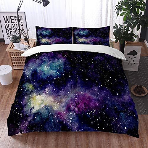 Bedding Juego de Funda de Edredón -Espacio rosa Acuarela Cielo estrellado Nebulosa Cosmos amarillo Naturaleza Azul Universo Est/Microfibra Funda de Nórdico (Cama 135 x 200 cm + Almohada 50X80 cm)