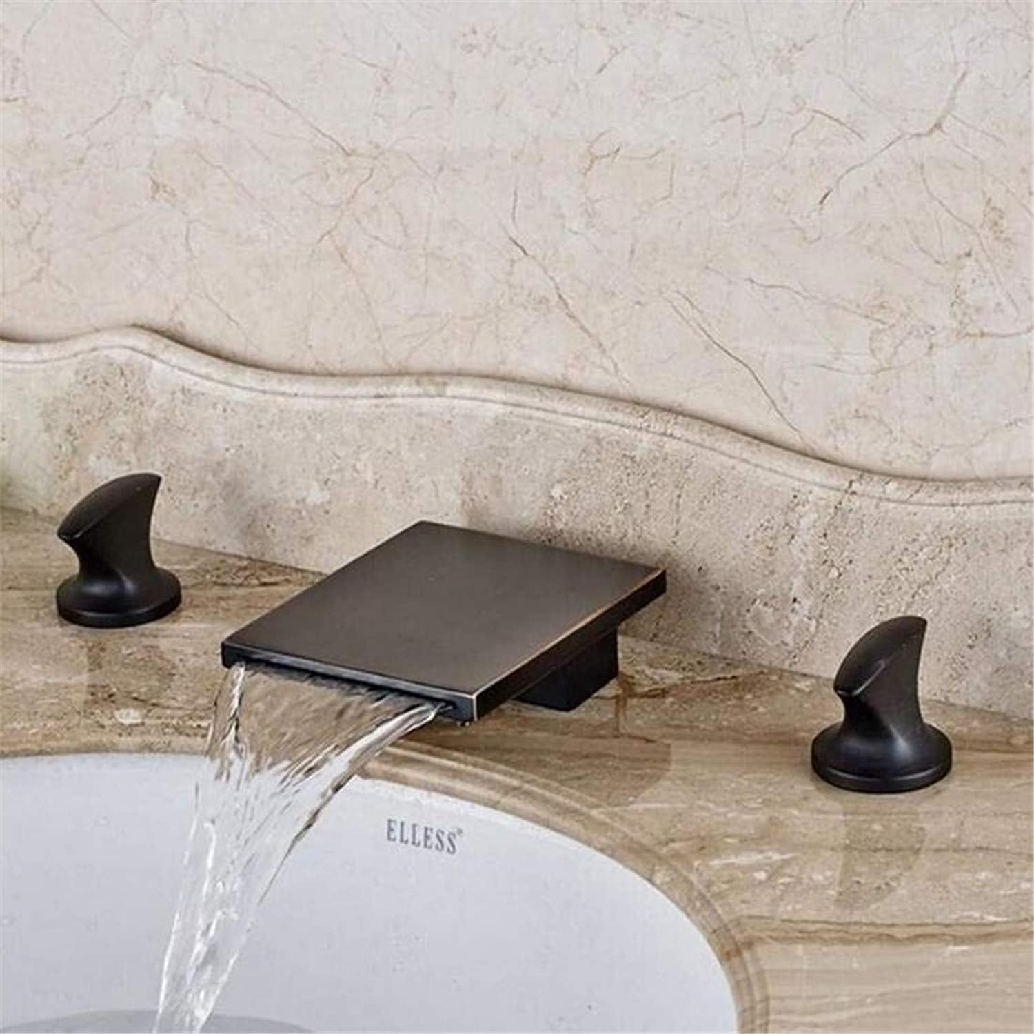 Faucet Kitchen Bathroom Stainless Steel Faucet Faucet Washbasin Mixer Oil Rubbed Bronze Waterfall Square Spout Bathroom Basin Faucet Dual Handle Mixer