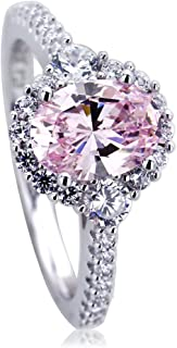 Platinum Plated Sterling Silver Ring 1.2 carat Oval Super Light Pink CZ Stone Halo Ladies Cocktail Ring (Size 5 to 9)