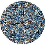 Yaoni Silencioso Wall Clock Decoración de hogar de Reloj de Redondo,Náutico, Patrón Abstracto Conchas de mar Caballito de mar Corales Pescado Rob Globe Mapas O,para Hogar, Sala de Estar, el Aula