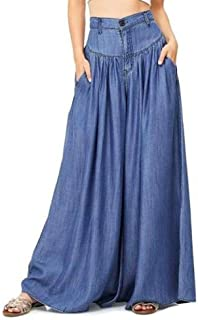 Mujer Ancho Pierna Pantalones - Moda Cintura Alta Loose Fit Leggings con Bolsillos Casual Pantalon Largo Streetwear Tallas...
