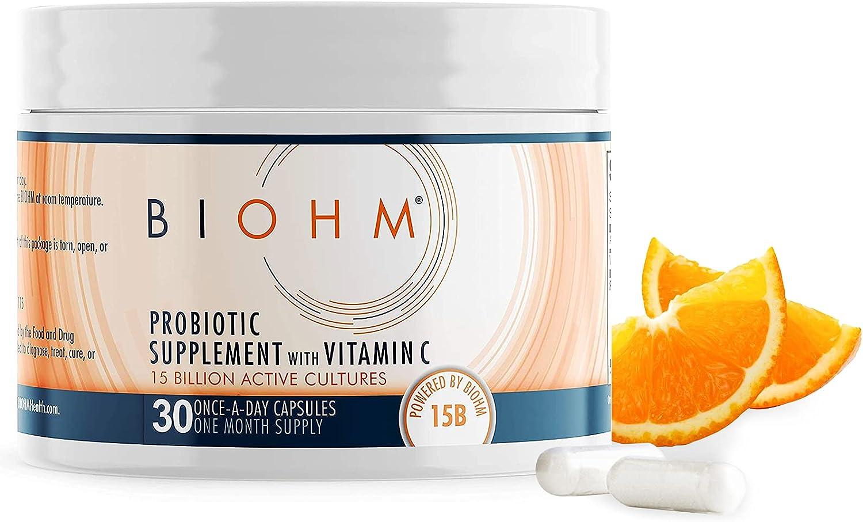 BIOHM 15B Probiotics Plus Vitamin Max 78% OFF C - Genuine for Immune Caps 30 Support