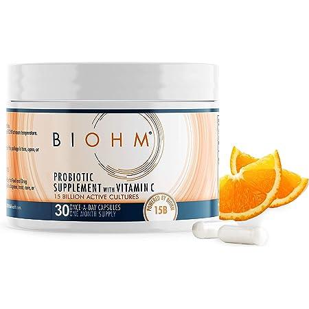 BIOHM Vitamin C Immune Support Probiotic Supplement - 30 Capsules - Vitamin C Strengthens Your Immune System While Probiotics Cleanse Your Gut - Vegan, Egg Free, Non-GMO, and Vegetarian