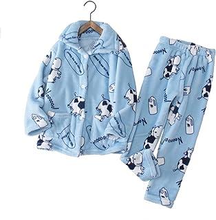Pijamas para Niños,Ropa De Hogar De Manga Larga con Estampado De Dibujos Animados De Franela De Bebé para Niños Y Niñas Conjunto De Pijamas De Vaca Lindo