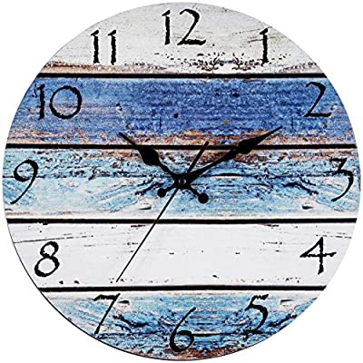 "Bernhard Products Rustic Beach Wall Clock 12"" Round, Silent Non Ticking Quartz - Battery Operated, Fiberboard Wooden Look, Vintage Shabby Beachy Ocean Coastal Paint Boards Nautical Decorative Clocks"