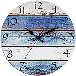 Bernhard Products Rustic Beach Wall Clock 12 Round, Silent Non Ticking Quartz - Battery Operated, Fiberboard Wooden Look, Vintage Shabby Beachy Ocean Paint Boards Nautical Decorative Clocks