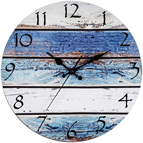 "Bernhard Products Rustic Beach Wall Clock 12"" Round, Silent Non Ticking Quartz - Battery Operated, Fiberboard Wooden Look, Vintage Shabby Beachy Ocean Coastal Paint Boards Nautical Decorative Clocks"