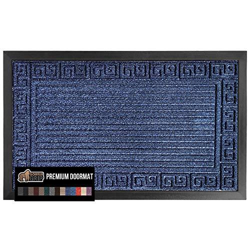 Gorilla Grip Original Durable Natural Rubber Door Mat, 29x17, Heavy Duty Doormat, Indoor Outdoor, Waterproof, Easy Clean, Low-Profile Mats for High Traffic Areas, Dark Navy Blue Greek Keys
