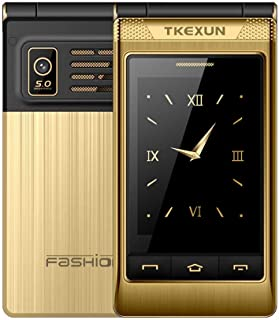 Peedeu Unlocked Flip Mobile Phone, SOS Big Button, 3.0-inch SIM-Free Dual SIM Dual Standby, Quick Dial Key Easy-to-use Clamshell Cell Phone for Elderly Seniors, Gold
