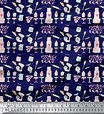 Soimoi Blau Baumwoll-Voile Stoff Cupcake Party gedruckt