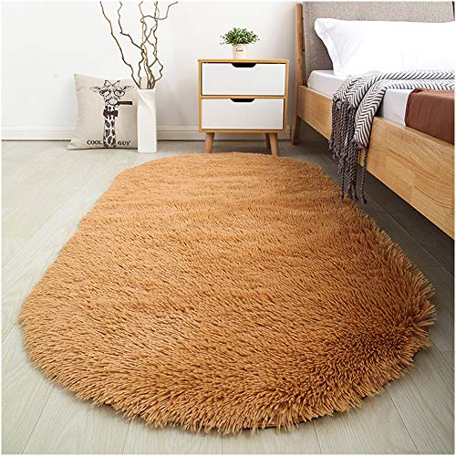 Softlife Fluffy Area Rugs for Bedroom 2.6' x 5.3' Oval Shaggy Floor Carpet Cute Rug for Boys Kids Room Living Room Home Decor, Khaki