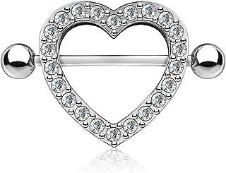 Paula & Fritz® - Piercing per capezzolo in acciaio INOX chirurgico 316L cuore con zirconi
