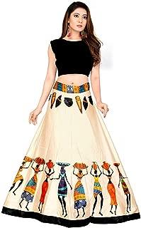 Indian Dresses Store Shivay Enterprise Women's Silk Semi-Stitched Digital Print Lehenga Choli (Panihari, Multicolour, Free Size)