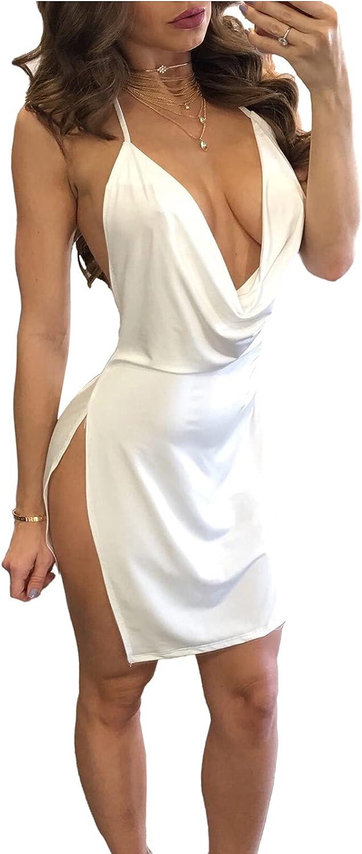 Women's Sexy Sleeveless Deep V-Neck Halter Backless Slit Mini Party Club Dress