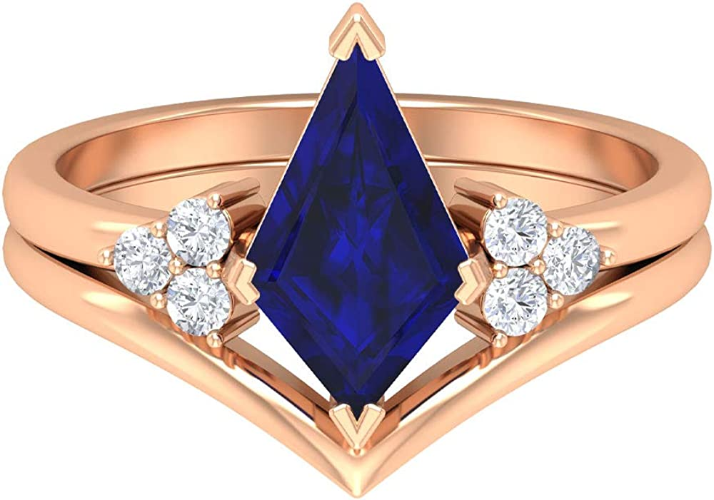 Bombing free shipping 3.75 CT Kite Shape Lab Created Blue gift wi Ring Sapphire Diamond and