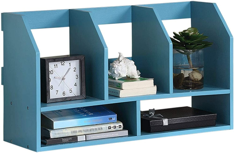 Feifei Simple File Storage Rack Student Computer Desktop Creative Bookshelf (color   bluee)