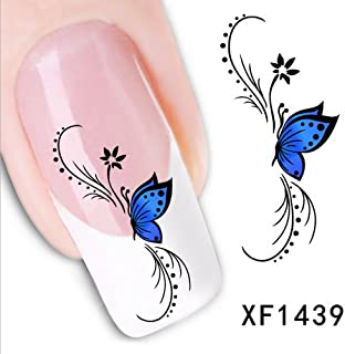 LEECO 5 PCS 3D Self-adhesive Beauty Nail Art Water Transfer Decal Sticker Sexy Lipstick Series Pattern Nail Art Sticker Decorations for Girls,Blue Butterfly XF1439