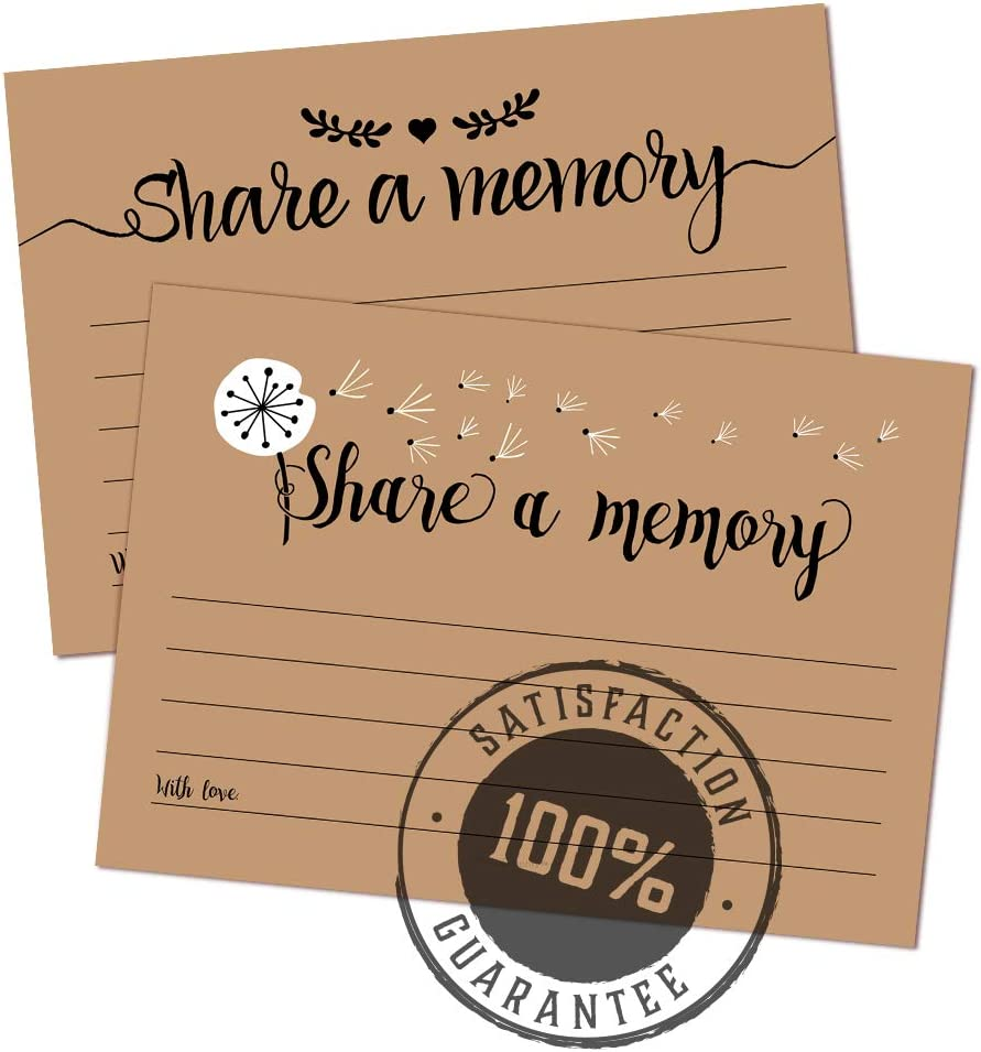 Going Away Party Graduation 50 Retirement Birthday Memorial Celebration of Life Rustic Share A Memory Cards for Funeral
