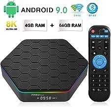 TV Box Android 9.0, TUREWELL T95Z Plus 4GB RAM 64GB ROM Android TV Box Amlogic S905X3 Quad-Core 64Bits Dual WiFi 2.4G/5GHz Bluetooth 4.0 3D 8K Ultra HD H.265 USB 3.0 Smart Media Player