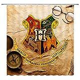 AMNYSF Vier College Embleme Harry Potter Hogwarts Magic Schule Decor Vorhang für die Dusche, Polyester-177,8x 177,8cm Wasserdicht-Badezimmer Zubehör Vorhänge mit 12Haken Modern Multi 4102