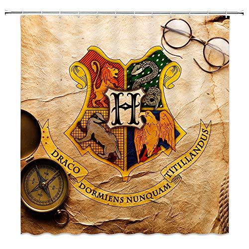 AMNYSF Vier College Embleme Harry Potter Hogwarts Magic Schule Decor Vorhang für die Dusche, Polyester-177,8x 177,8cm Wasserdicht-Badezimmer Zubehör Gardinen mit 12Haken Modern Multi 4102