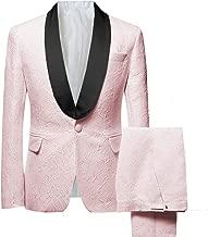 Frank Men's Jacquard 2 Piece Suit Slim Fit Tuxedo Blazer Jacket Tux & Trousers
