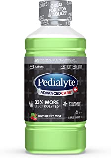 Pedialyte AdvancedCare Plus Electrolyte Drink, 1 Liter, 4 Count, with 33% More electrolytes & Has Preactiv Prebiotics, Kiw...