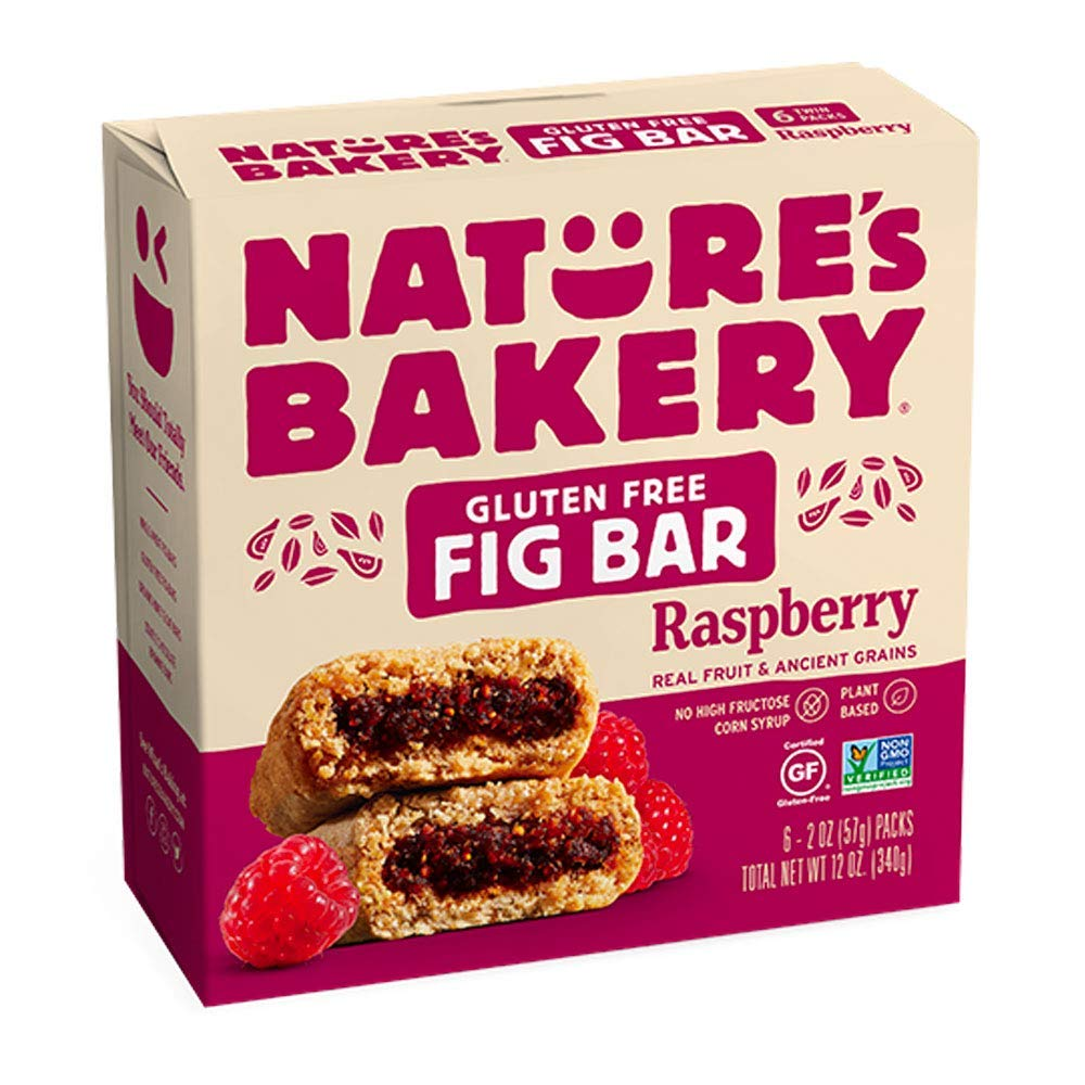 Nature's Bakery Bakery Gluten Free Fig Bars, Raspberry, Real Fruit, Vegan, Non-GMO, Snack bar, 1 box with 6 twin packs (6 twin packs)