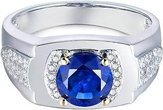 ButiRest - Anello da donna in oro bianco 750, 18 carati, con 4 denti taglio rotondo, zaffiro blu VVS e diamante 0,2 carati
