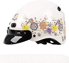 Flower Print Retro Harley Motorcycle Helmet, Half Helmet Adults Girls Women Lady M-L (53-60cm)