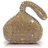 J&G - borsa a mano, a triangolo, con strass, pochette da sera, festa di nozze, colore: gold