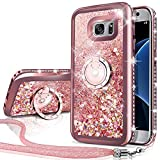 Silverback Galaxy S7 Active Case, Moving Liquid Holographic Sparkle Glitter Case with Kickstand, Bling Diamond Rhinestone Bumper W/Ring Stand Slim Samsung Galaxy S7 Active Case for Girls Women -RD