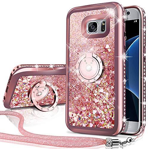 Miss Arts Funda Galaxy S7 Edge [Silverback] Carcasa Purpurina con Soporte Giratorio...