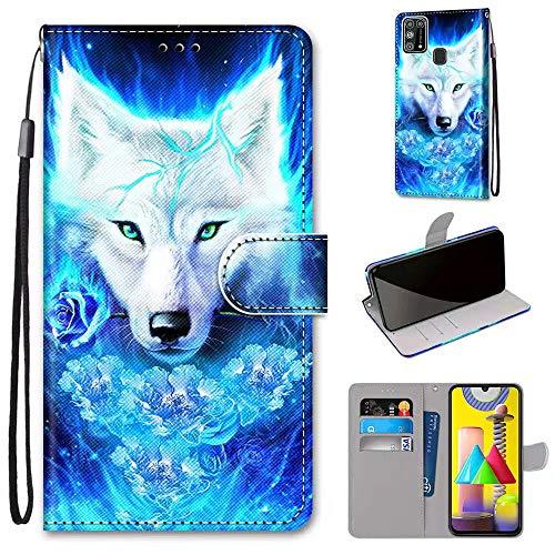 Miagon Flip PU Leder Schutzhülle für Samsung Galaxy M31,Bunt Muster Hülle Brieftasche Case Cover Ständer mit Kartenfächer Trageschlaufe,Rose Wolf