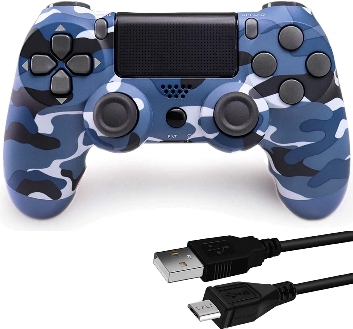 Game Controller for PS4, Wireless Remote for Play Station 4 with Dual Vibration Game Joystick(Blue Camouflage, NOT-OEM)