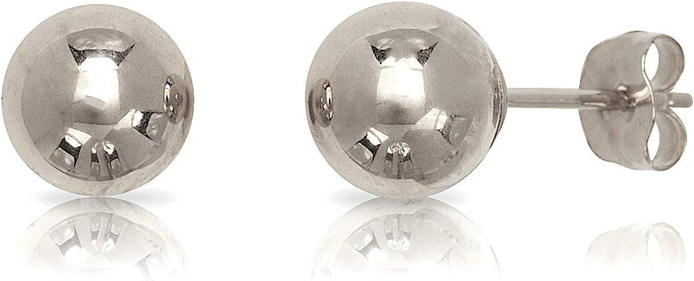 14 Karat White Gold Ball Earrings (6 mm)