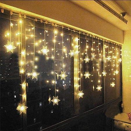 Cadena de luz LED Cadena de luz de cortina LED Hada Luz de copo de nieve 8 Patrones Cadena de luz impermeable para Navidad Ventana Jardín Fiesta Terraza Decoración 2m
