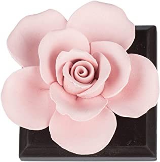 QFUN Handmade Ceramic Artificial Flower Fragrance Diffuser Living Room Decor - Great Gift for Mother's Day Valentine's Day Wedding and Christmas (Red Rose)