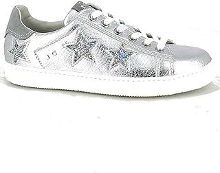 NeroGiardini - Sneaker Laminata Argento con Stelle