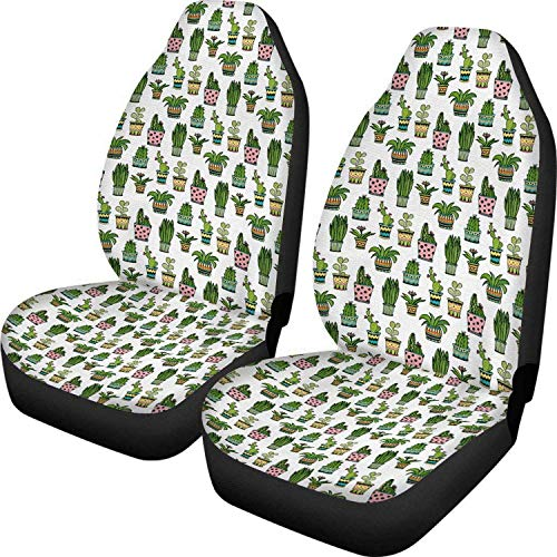 Bernice Winifred - Fundas universales para asientos delanteros con diseño de cactus, 2 unidades, para perros, protectores de manta para coche, sedán, camioneta, SUV y camión