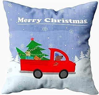 2PC 18X18,Fundas De Almohada,Tarjeta De Feliz Navidad Vehículo Grande Rojo Árbol Toate The House Fundas De Almohada Coloridas De Sofá De Invierno,Fundas De Almohada,Verde Plateado