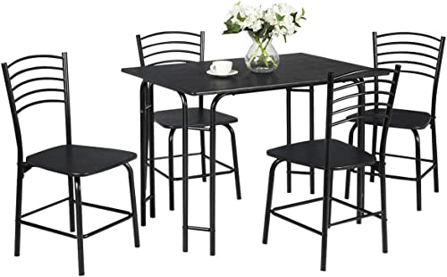 2021 Giantex outlet sale Dining Table Set with 4 Chairs 5-Piece Wood Kitchen Table for 4 Person Rectangular Table with Metal Frame high quality (Black) outlet sale