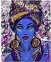Xiangll ストリートアートファッションキャンバス絵画女性が壁にプリント女の子の部屋の装飾ポスターと寝室用-50X70Cmフレームなし