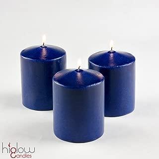Higlow 3 x 4 Pillar Candles Unscented Set of 3 (Navy Blue) Cobalt Made in USA